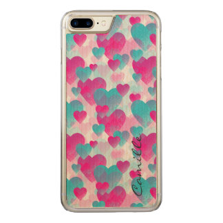 pink and blue valetines hearts with name carved iPhone 8 plus/7 plus case
