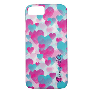 pink and blue valetines hearts with name iPhone 8/7 case
