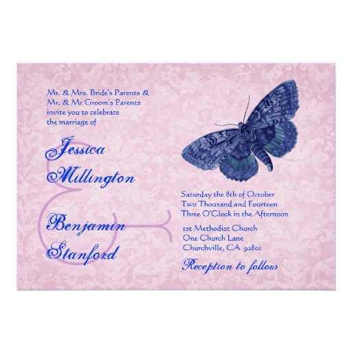 ... Vintage Butterflies Wedding Template Custom Invitation from Zazzle.com