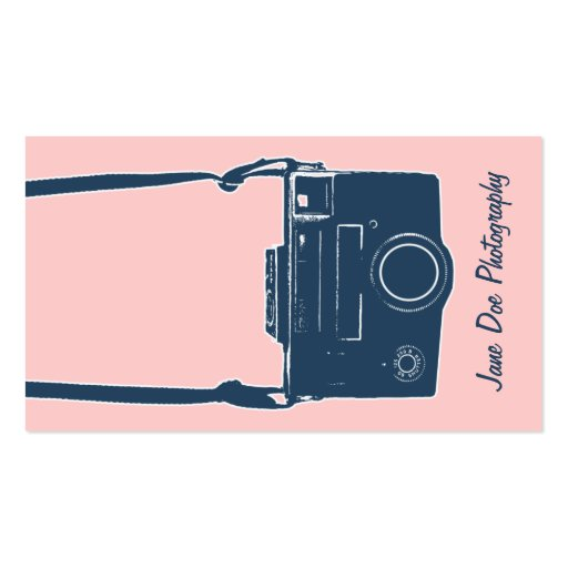 Pink and Blue Vintage Camera Business Card