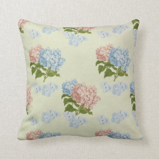 Pink and blue vintage hydrangea flowers pillow