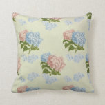 Pink and blue vintage hydrangea flowers throw pillow