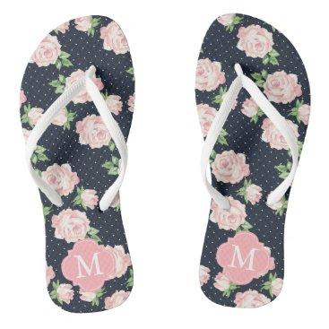 heartlocked Pink and Blue Vintage Roses Monogrammed Flip Flops