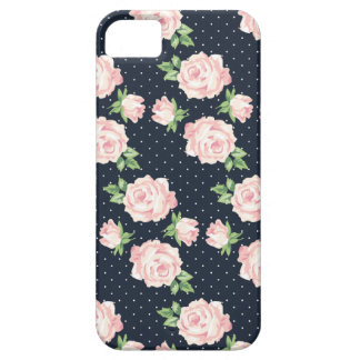 Pink and Blue Vintage Roses Pattern iPhone SE/5/5s Case