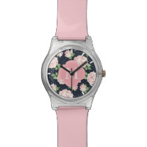Pink and Blue Vintage Roses Pattern Monogrammed Wristwatch