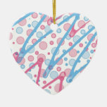 Pink and Blue Water Drops and Zig Zag Abstract Christmas Ornaments