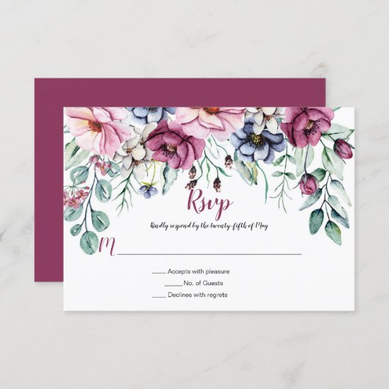 Pink and Blue Watercolor Floral RSVP Card