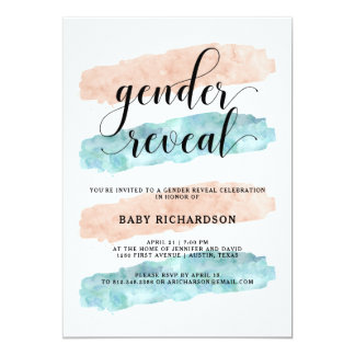 Pink and Blue Watercolor | Gender Reveal Party Card