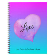 Pink and Blue Watercolor Heart Love Notebook