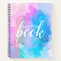 Pink and Blue Watercolor Sketch Book