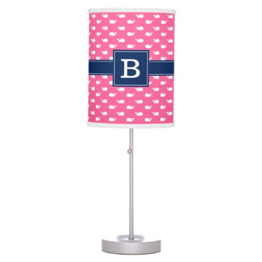 Pink and Blue Whimsical Whales Monogram Desk Lamp