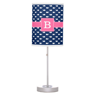 Pink and Blue Whimsical Whales Pattern Monogram Table Lamp