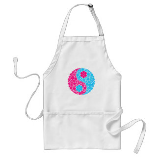 Pink and Blue Wild Flowers Yin Yang Adult Apron