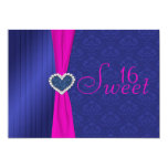 Pink and Blue with Glitter Heart Sweet Sixteen 5x7 Paper Invitation Card