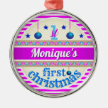 Pink and Blue / Your Baby's 1st First Christmas Metal Ornament