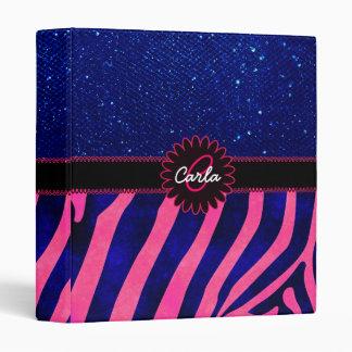 Pink and Blue Zebra Stripes and Gems Binder