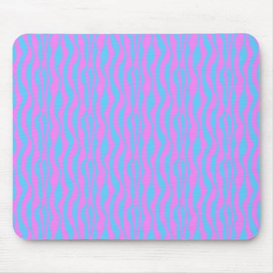 Pink and Blue Zebra Stripes Mouse Pad