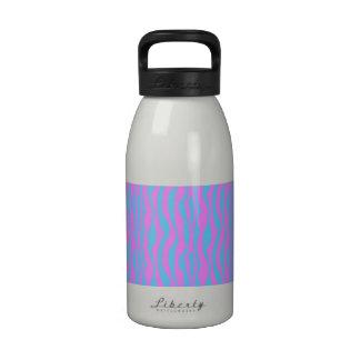 Pink and Blue Zebra Stripes Drinking Bottle
