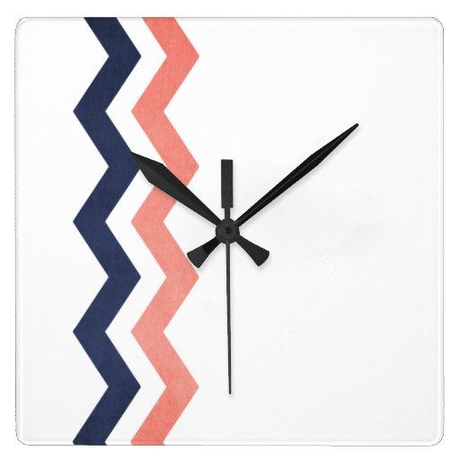 Pink and Blue Zig Zag Pattern Square Wallclocks