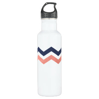 Pink and Blue Zig Zag Pattern Stainless Steel Water Bottle