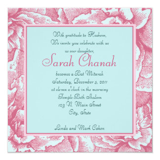 Pink and BlueFlower Invitation