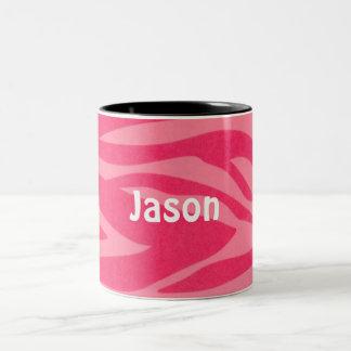 Pink and Bright Hot Pink Custom Zebra Mug