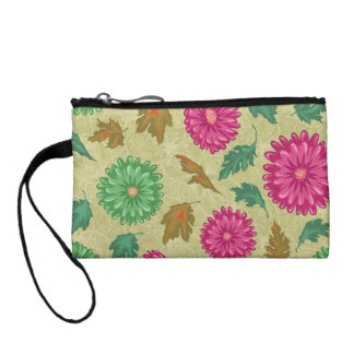 Pink and Bright Teal Vintage Floral Coin Wallet