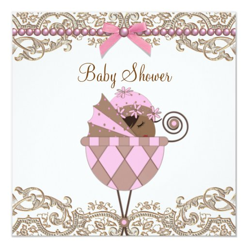 Pink and Brown African American Girl Shower 5.25x5.25 Square Paper Invitation Card