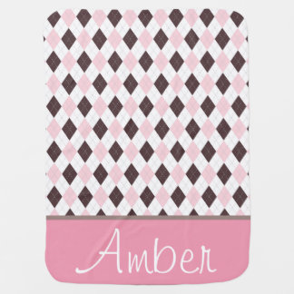Pink and Brown Argyle Baby Blanket