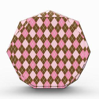 Pink and Brown Argyle Diamond Print Acrylic Award