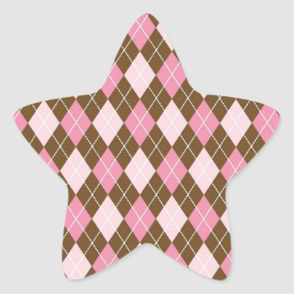 Pink and Brown Argyle Diamond Print Star Sticker