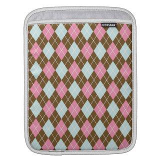 Pink and Brown Argyle iPad Sleeves