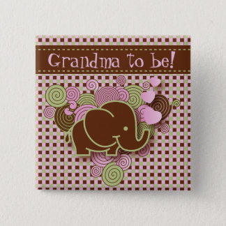 Pink and Brown Baby Elephant | Grandma to be Pinback Button