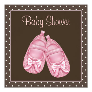 Pink and Brown Baby Girl Shower 5.25x5.25 Square Paper Invitation Card
