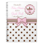 Pink and Brown-Baby Shower Guest Book- Spiral Notebooks