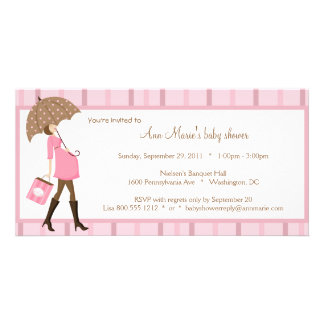 Pink And Brown Baby Shower Invitation Photo Card Template