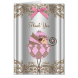 Pink and Brown Baby Shower Thank You Stationery Note Card