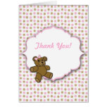 Pink and Brown Bear Baby Shower Thank you notes Stationery Note Card