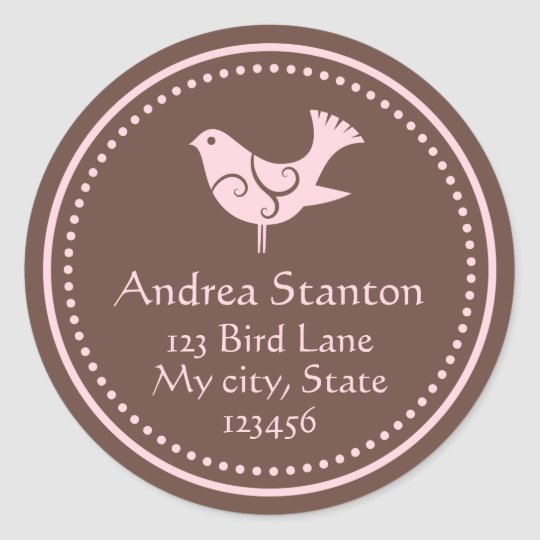 Pink and brown bird customizable address labels