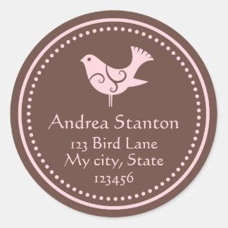 Pink and brown bird customizable address labels sticker