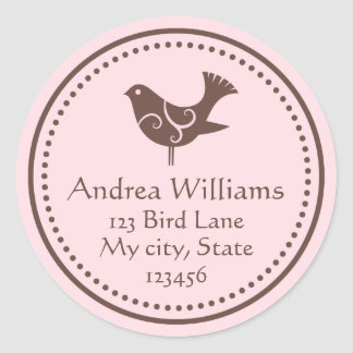 Pink and brown bird customizable address labels round stickers