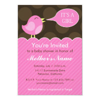 Pink and Brown Bird, Girl's Baby Shower Invitation