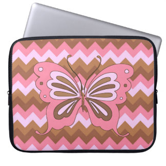 Pink and Brown Butterfly Laptop Sleeve