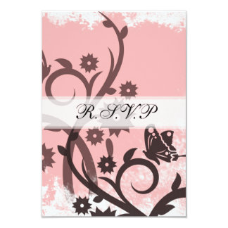 Pink and Brown Butterfly RSVP Card