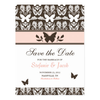 Pink and Brown Butterfly Save The Date Postcard