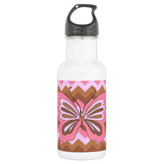 Pink and Brown Butterfly Stainless Steel Water Bottle