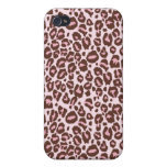 Pink and Brown Cheetah Print Cover For iPhone 4