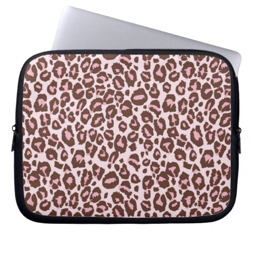 Pink and Brown Cheetah Print Laptop Computer Sleeves