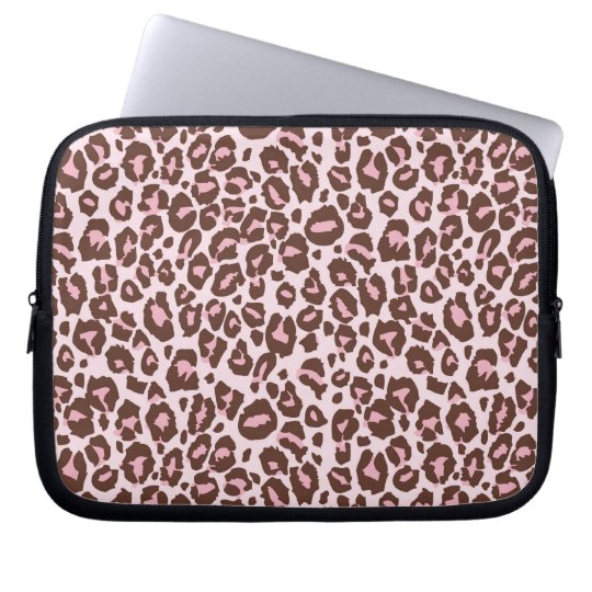Pink and Brown Cheetah Print Laptop Sleeve