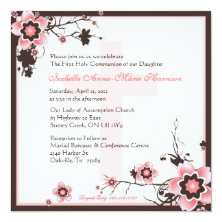 Pink and Brown Cherry Blossom Communion Invitation